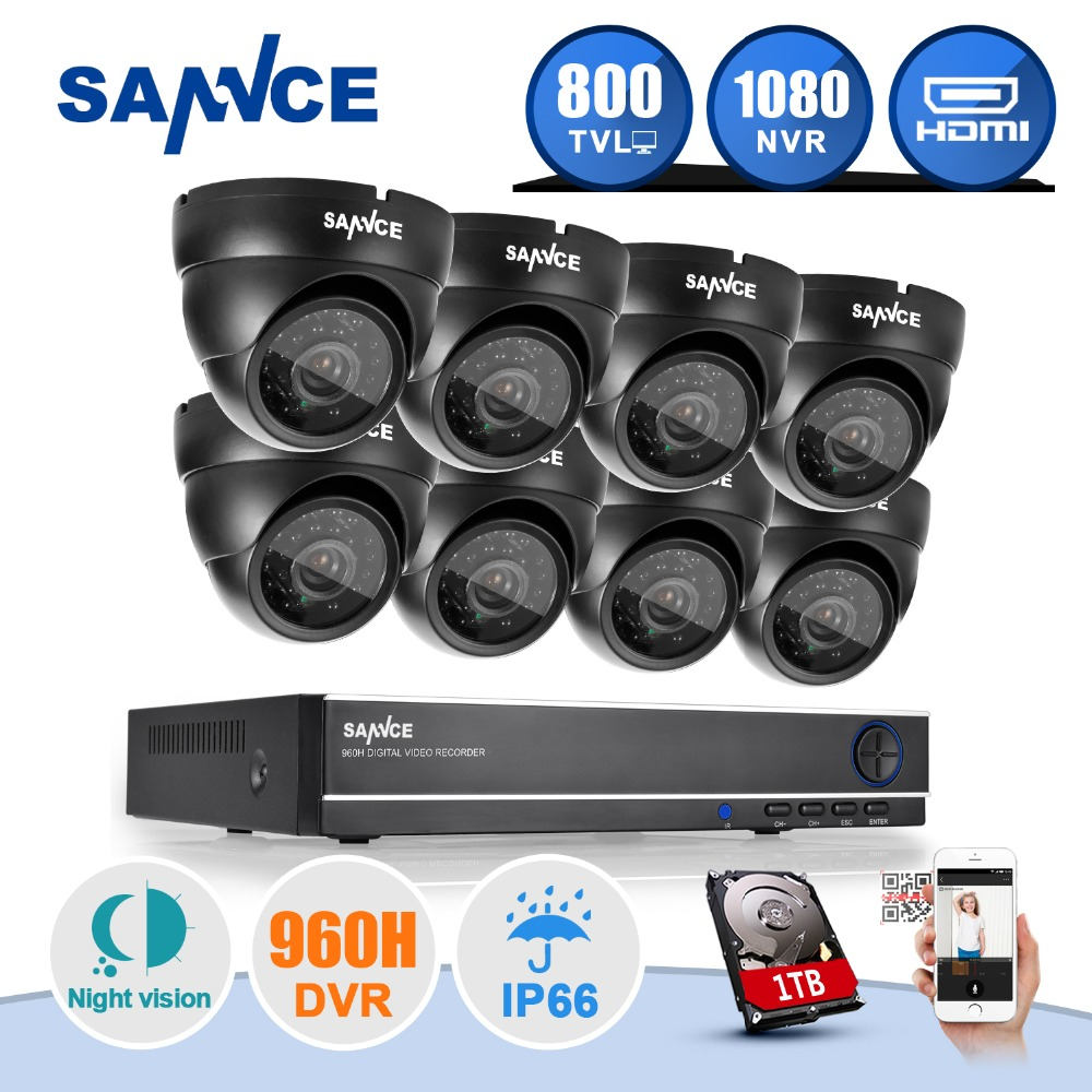 SANNCE 8CH 960H 3 in 1 Hybrid DVR 800TVL Outdoor Night Vision CCTV Home Security Video Surveillance System Kit With 8 Camera 1TB(China (Mainland))