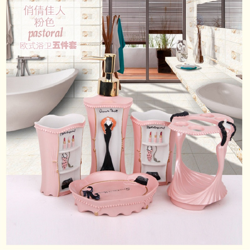 Awesome Pink Bathroom Accessories Girls Five Pieces Acessorios Vanheiro High  Quality Resin Bathroom Products Pink Bathroom Accessories ...
