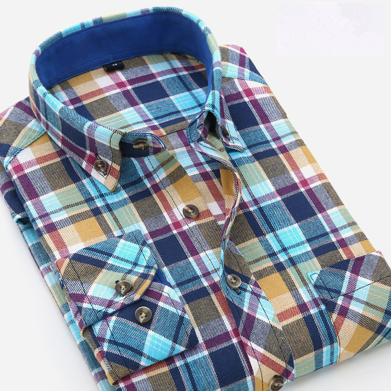 2016 new Autumn men's cotton long sleeved plaid shirt men brushed flannel shirt plus size(China (Mainland))