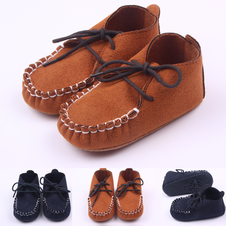 New soft baby shoes newborn boy Girl nubuck leather crib shoes toddler elastic band p loafer pre walker shoes(China (Mainland))