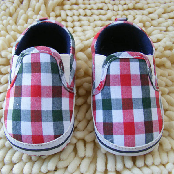 Kids Baby Boy Slip-On Plaid Crib Shoes Cotton Casual Sole Pre walker First Walkers(China (Mainland))