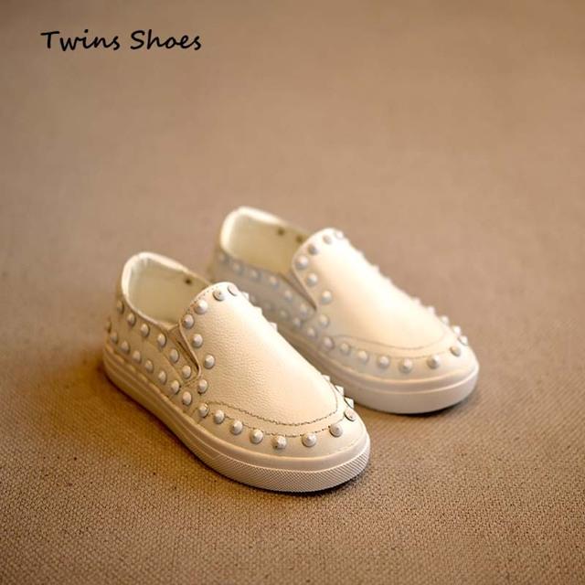 2016 Весна девушки мода черный дети обувь из натуральной кожи дети плоские обувь ...