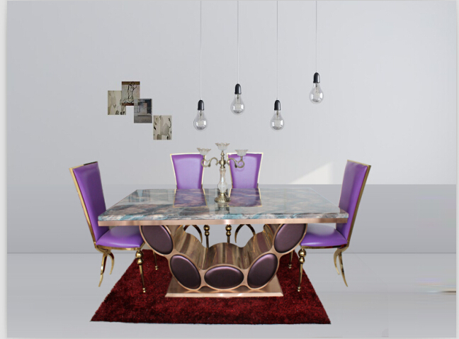 Good quality marble dining table dining table set with black &rose gold color 4 chairs(China (Mainland))