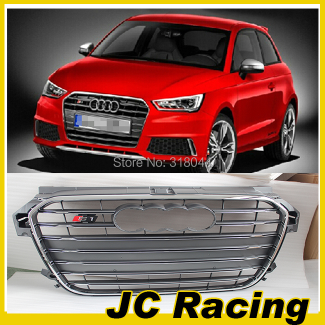 ABS Chrome Auto car mesh grill ,Grey frame grill with Parking Sensor For Audi(fit for audi a1 s1 10-13)(China (Mainland))
