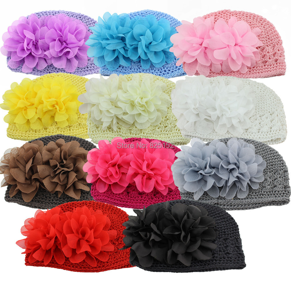 Drop Shipping Fashion Sweet Flower Crochet Beanie Knitted Cap Hat Newborn Baby Child Toddlers Girl Warm Handmade Caps 11 Colors(China (Mainland))