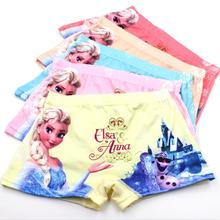 free shipping 5pcs/lot Elsa cartoon cool children boxer underwear girl cotton pants for children kids pants(China (Mainland))