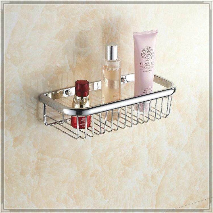 30cm Wall Mounted Strong Brass made and Chrome finish single tier bathroom shelf /shelves bathroom basket HJ-105L bathroom fauce(China (Mainland))