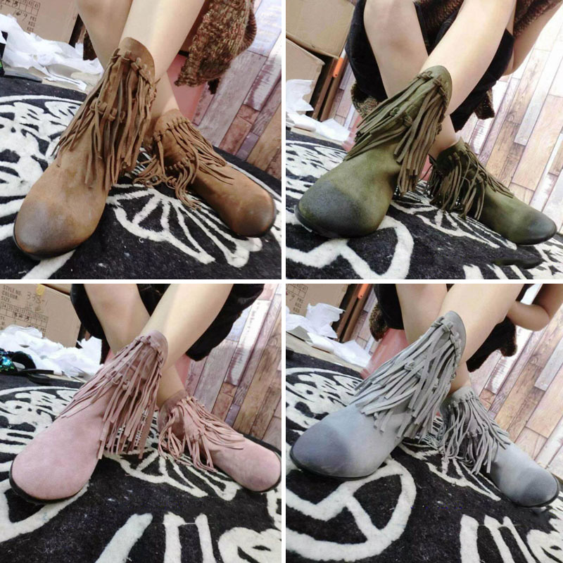2015  Brand Design Top Leather Comfortable Fringe Tassel Suede Pointed  toe Flat Heel  Ankle Boots  Women Flat shoes J376<br><br>Aliexpress