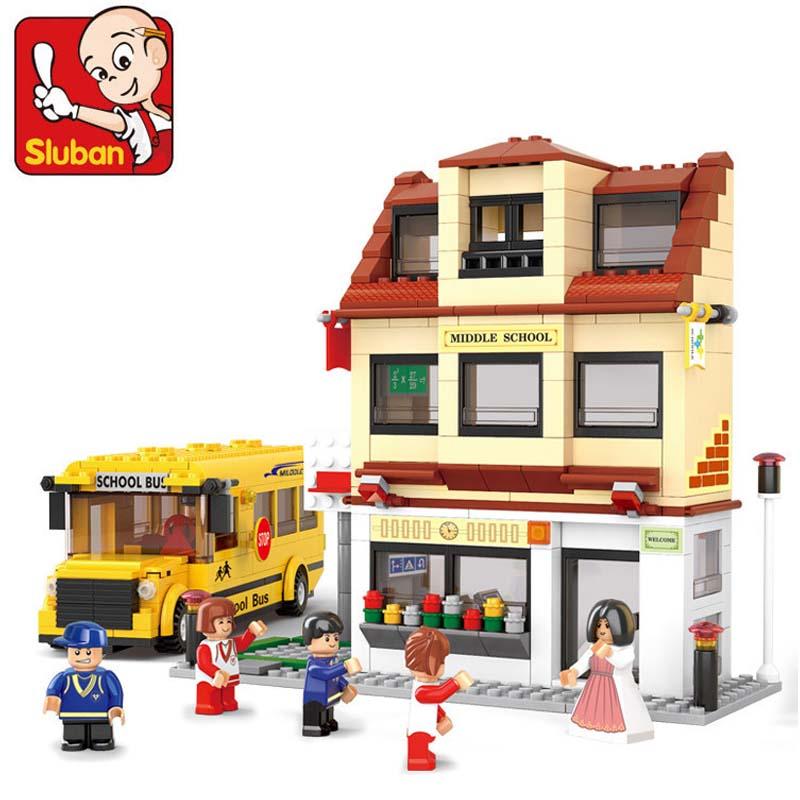 Sluban 496pcs School Bus House Campus Building Blocks Bricks DIY Minifigure Children's Toys Kids Gift Compatible With Legoe(China (Mainland))