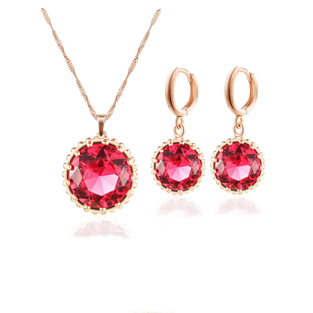 fashion 18k rose gold &Platinum plating High-grade Ruby Crystal Jewelry Sets womens anniversary prom Party Necklace Earring set(China (Mainland))