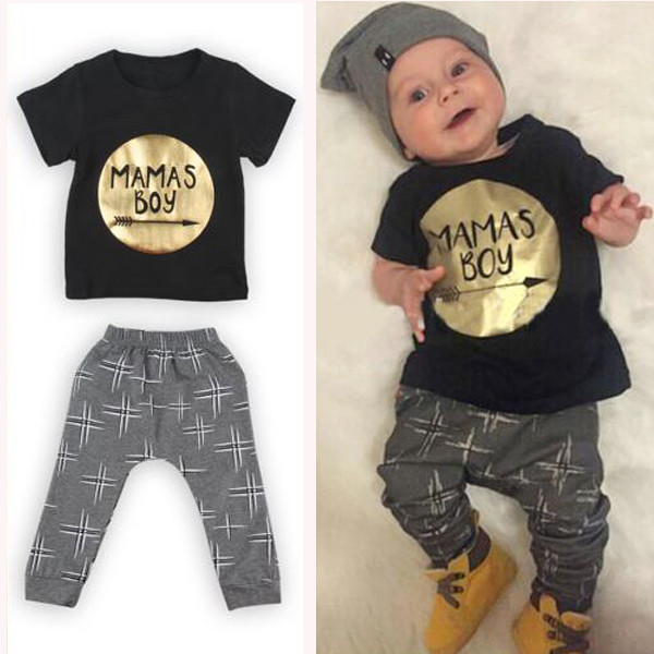 Fashion Kids Baby Boys Short Sleeve T-Shirt Tops+Scarf+Trousers Clothes Set UK