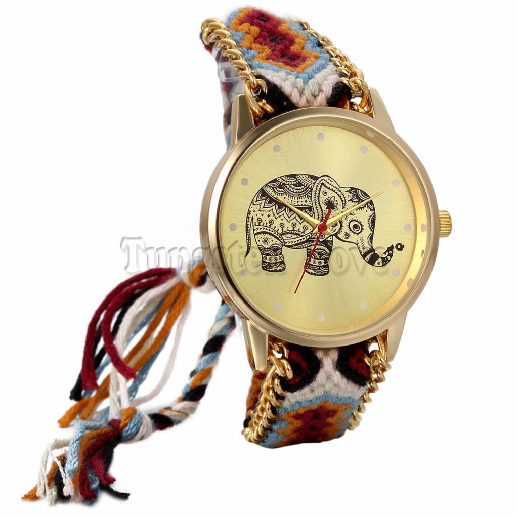 Thailand Women Cartoon Elephant Pattern Casual Ladies Braided Rope Bracelet Watch customer engrave(China (Mainland))
