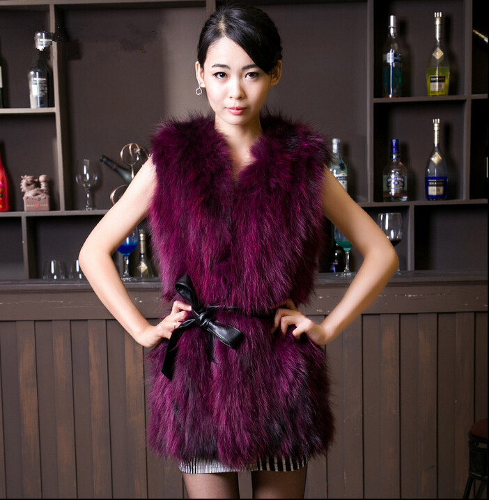 Real Genuine Raccoon Dog Fur Vest Natural Coats Women Winter Best Fashion Furs Jackets Long Multicolor