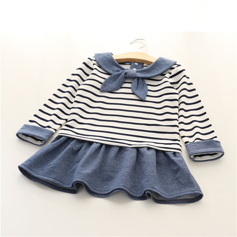 Girl dress 2016 Cute Naval Academy Wind bow kids dresses for girls Spring Casual black and white Striped dresses child clothes(China (Mainland))