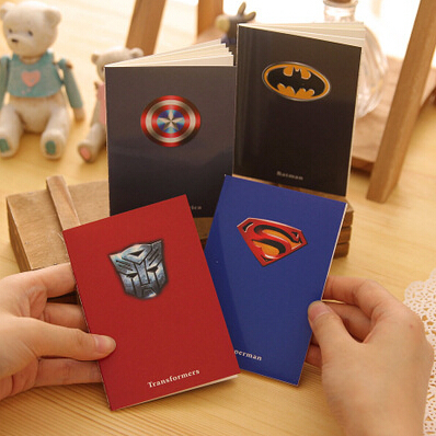 Mini Cute Superman Batman Notebook Exercise Book Notepad with lined paper for kids gift Free shipping 166(China (Mainland))
