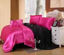 luxury pure satin solid 100% silk  Bedding set luxury/Pink/smooth Silk Blended Silk Wedding Bedding  (China (Mainland))
