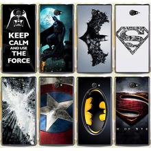 Жесткий пк телефон чехол кожного покрова для Sony Xperia м2 S50h двойной D2302 D2305 D2303 D2306 супермен логотип бэтмен капитан америка чехол