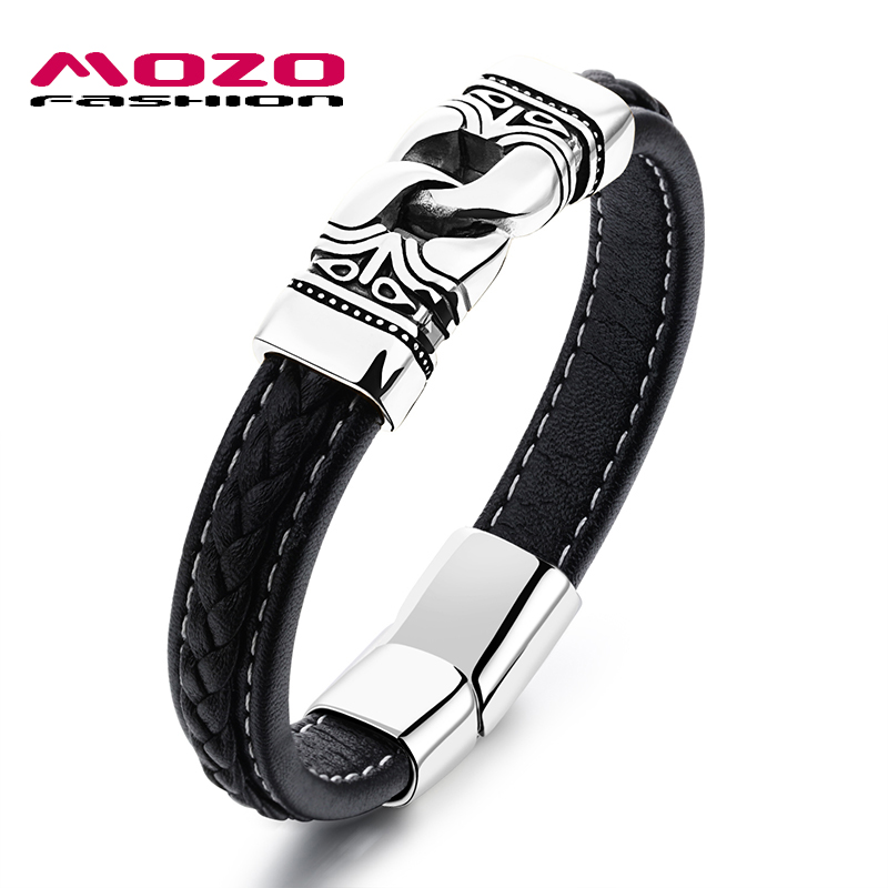 MOZO FASHION Male Bracelet Leather Rope Bracelets Gold / Silver Stainless Steel Vintage Bracelet Rock Men Trendy Jewelry MPH1104