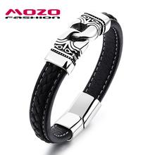 Buy MOZO FASHION Male Bracelet Leather Rope Bracelets Gold / Silver Stainless Steel Vintage Bracelet Rock Men Trendy Jewelry MPH1104 for $6.66 in AliExpress store