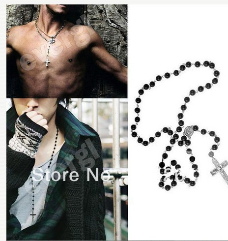 Mens Beckham Silver Cross Pendant Black Rosary Beads Necklace Hot