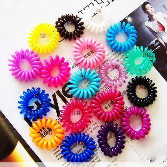 Sale 1 piece New Arrival Cute Girls Elastic Hair Ties/Rope Bands Hair Telephone Line Ponytail Holder Women Black/Mix Color(China (Mainland))