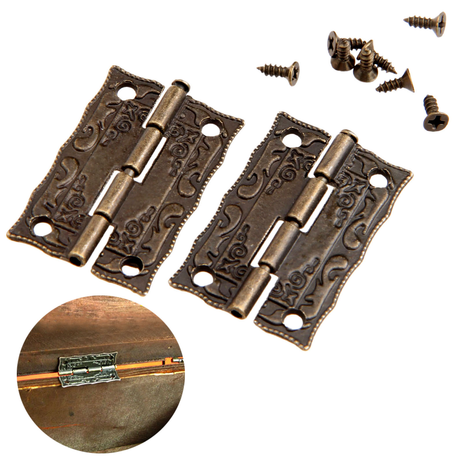 2Pcs 36x23mm Antique Bronze Cabinet Hinges Furniture Accessories Door Hinges Drawer Jewellery Box Hinges For Furniture Hardware(China (Mainland))