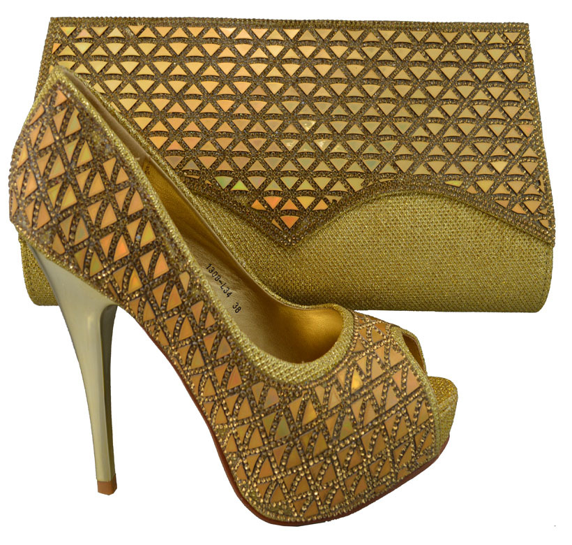 2015 Women high heels African Top style matching italy shoes and bags with plenty of sequins best quality in gold,YBS2-79(China (Mainland))