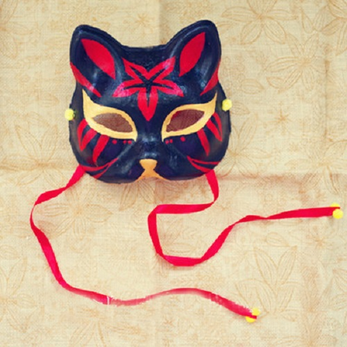 Half Face Japanese Style Hand-Painted Fox Mask Kitsune Maple Leaf Pattern Cosplay Masquerade for Party Halloween(China (Mainland))