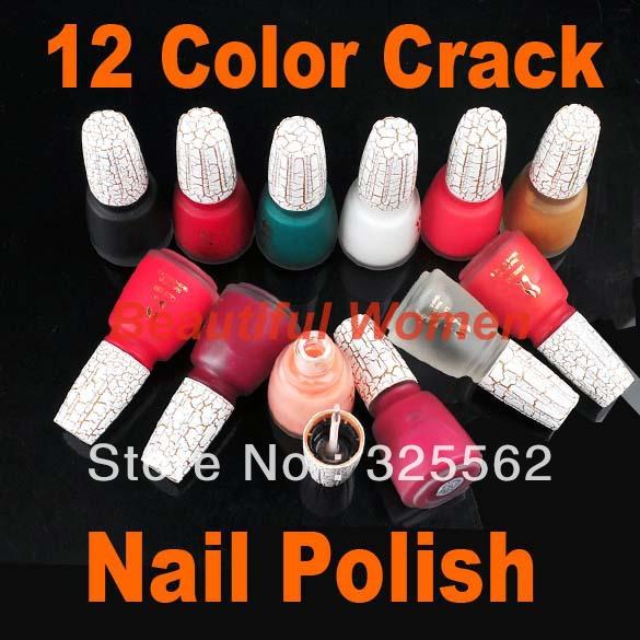 12 Colors Sexy Crack Nail Polish Art Crackle Shatter New Fashion Wholesale 2052(China (Mainland))