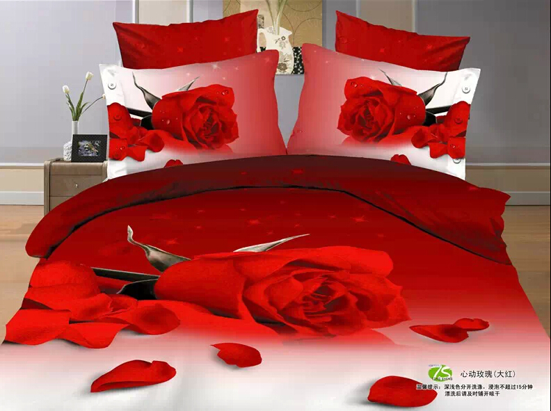 twin full size 3d luxury bedding sets red rose flowers designer comforters red bedding beautiful bedding country comforters(China (Mainland))