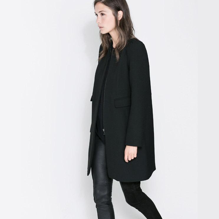 SKY 2015 Women's New Fashion LOOKBOOK Fall main push models e models Dark Full-sleeved coat jacket pocket pairs(China (Mainland))