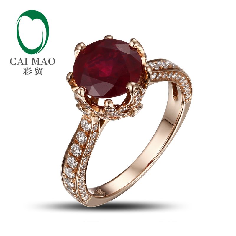 Romantic 14K Rose Gold Blood Red Round Ruby Natural Diamond Engagement Ring Fine Jewelry In