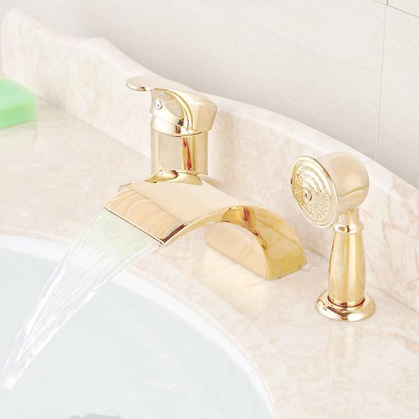 Купить LED Широкое Золотой Латуни Водопад Ванной Ванной Кран 3 шт. Смесители Душ