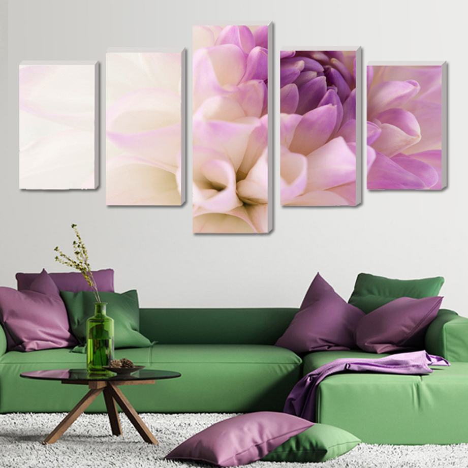 Purple Vegetable Wall Art: Oil Painting Purple Flowers Wall Art Picture Modular