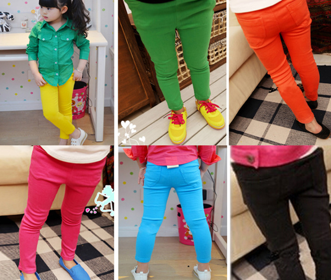 retail New Design fashion baby Girls candy color leggings Children's Casual trouser free shipping girls cotton pants 6 colours(China (Mainland))