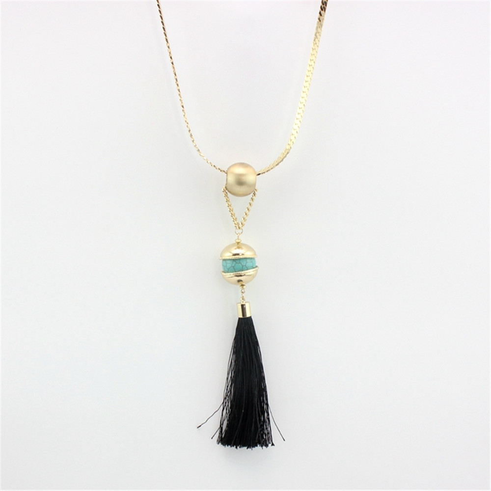 Free shipping the new fashion Flat copper chain Green pine round bead black line broken long necklace(China (Mainland))