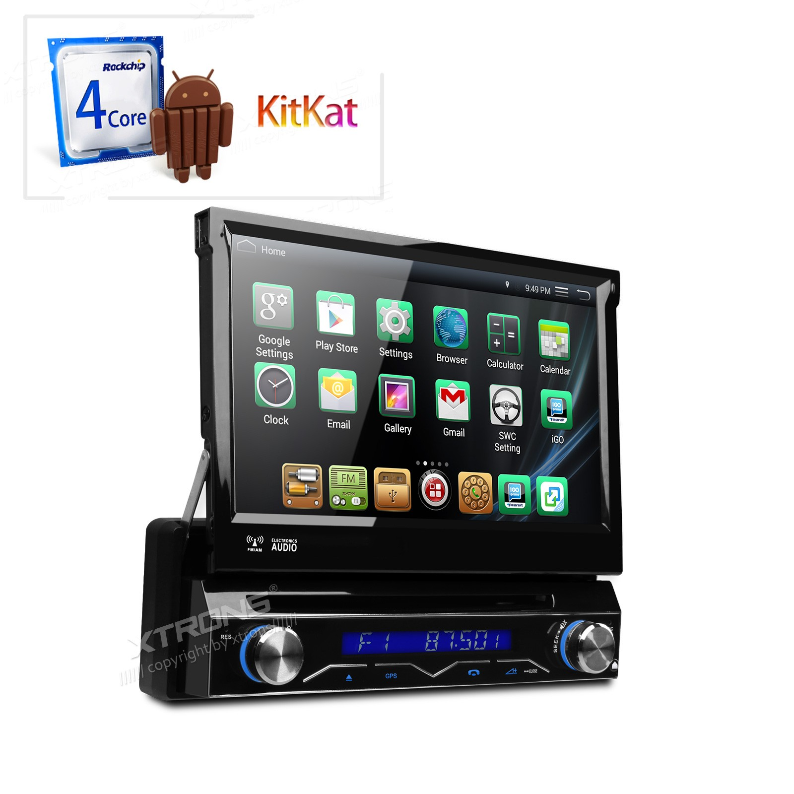 """7"""" Quad Core Android 4.4.4 Single Din Car DVD 1 Din Car Radio One Din Car Navigation GPS with External DAB+ Receiver Box Support(China (Mainland))"""