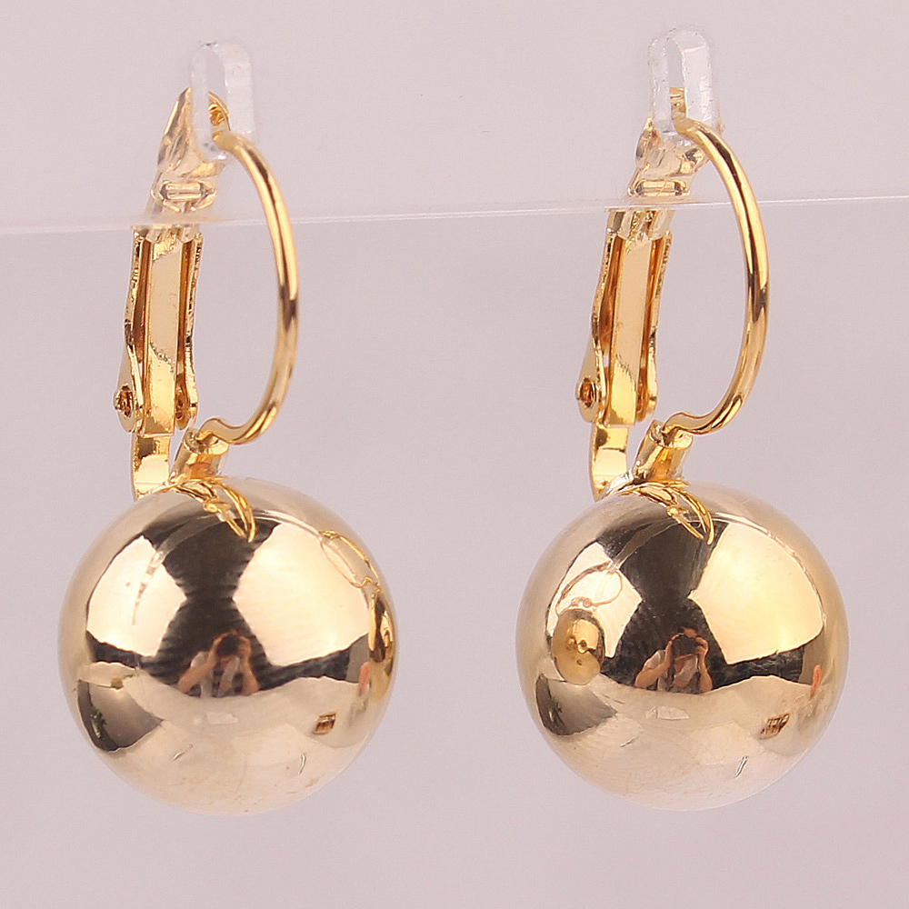 Fashion Jewelry New Style 18k Gold Plated Shining Gold Ball Shape Stud Earrings Jewelry For Women Birthday Gift(China (Mainland))