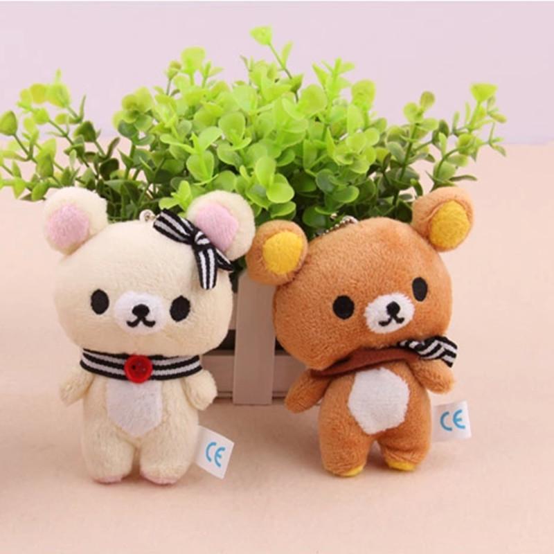 1Pair Kawaii Standing 11CM Lover Rilakkuma Bear Plush Stuffed TOY , Soft Figure DOLL , Key Chain Design ; BAG Pendant Charm TOY(China (Mainland))