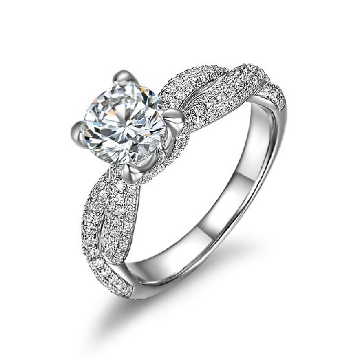 Exclusive Luxury Wedding 1CT Synthetic Diamond Rings 925 Sterling Silver White Gold Plated Best Jewelry Gift For Love Whoelsale(China (Mainland))