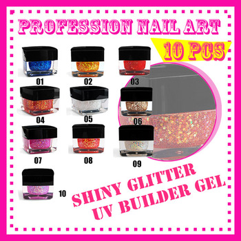 free shipping New 10 pcs 10 Color Nail Tools Acrylic Color plastic charm nail art shiny glitter UV gel builder S082
