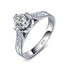 S925 wedding ring white gold plated engagement simulate diamond jewelry bague for women accessories bijoux MSR075