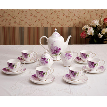purple coffee cup set total 15 pcs for 6 persons use