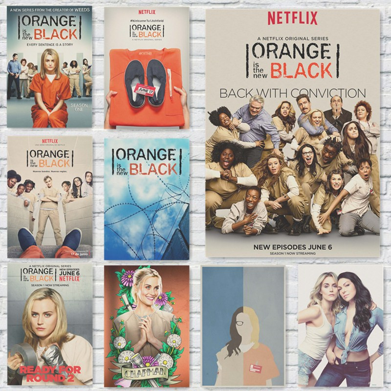 Posters ORANGE IS THE NEW BLACK TV Show Art Wallpaper Vintage Style Kraft Paper Prints Wall Stickers Home Decoration(China (Mainland))