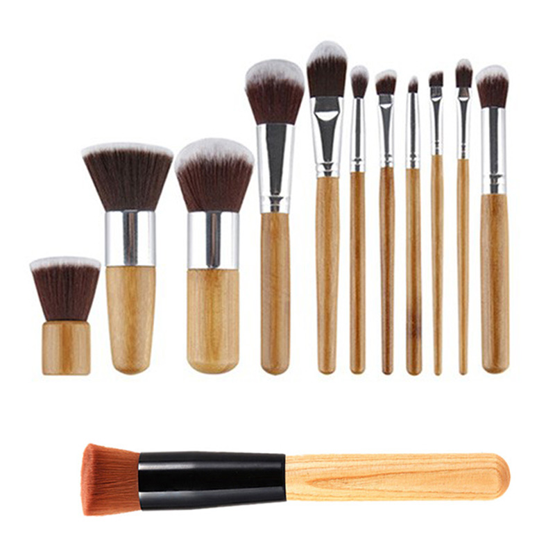 12Pcs Makeup Brush Set Comestic Eyeshadow Foundation Brushes Bamboo Handle Beauty Accessories HS11(China (Mainland))