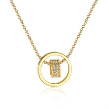 Fashion Women Jewelry Brand 18KGP gold colour necklace Ure Clear Simply Turnable Small Round Cubic Zirconia Pendant Necklace(China (Mainland))