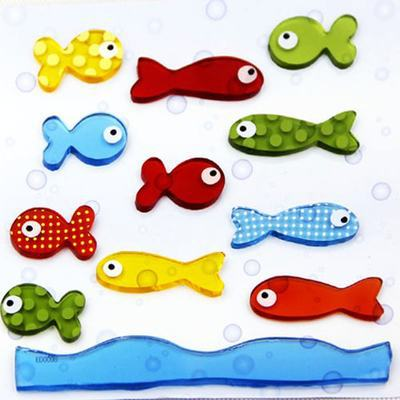 070523 fashion tile stickers environmental protection flexible glue jelly colored fish fridge magnet free shipping(China (Mainland))