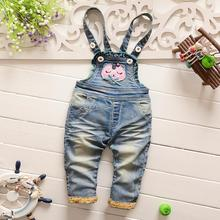 Spring Autumn Children Clothing Roupas De Bebe Kids Baby Vintage Washed  Cartoon Denim Jeans Overall Long Pants Trousers S2775