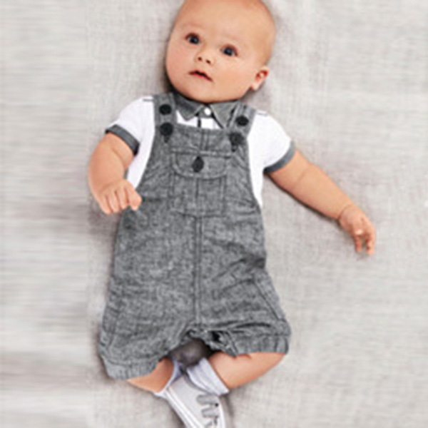 Wholesales 2PCS Infants Baby Boys Cloth Set T shirt Top Bib Pants Jumpsuit Overall Costume
