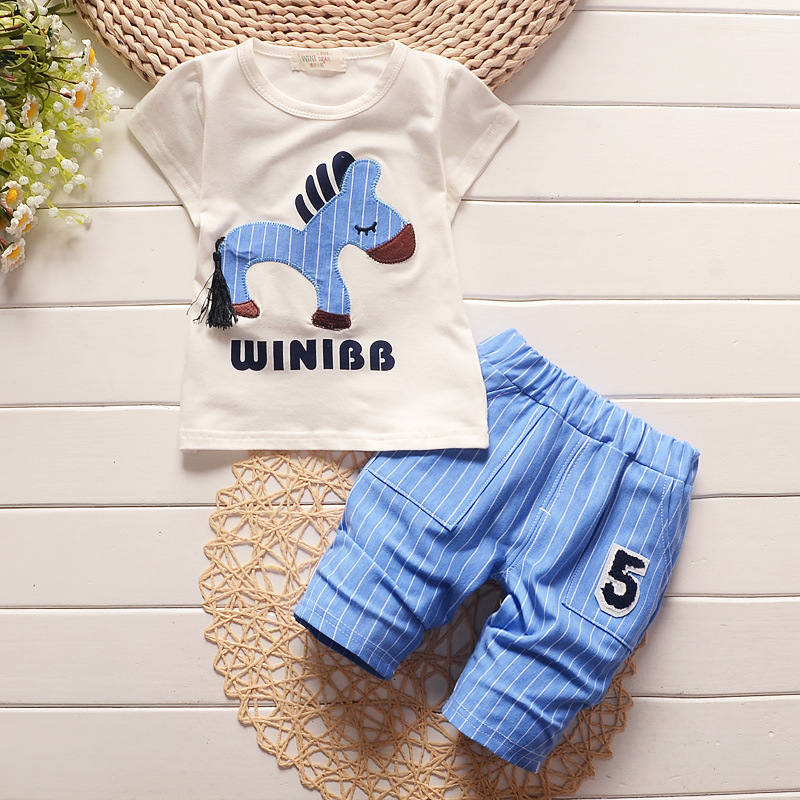 2016 Infant clothes toddler children summer baby boys clothing sets cartoon 2pcs Cartoon zebra clothes sets boys summer set(China (Mainland))